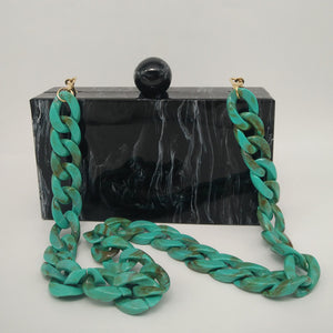 Black Marble Box Clutch Purse - Patterned Evening Bag