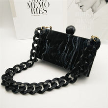 Load image into Gallery viewer, Black Marble Box Clutch Purse - Patterned Evening Bag