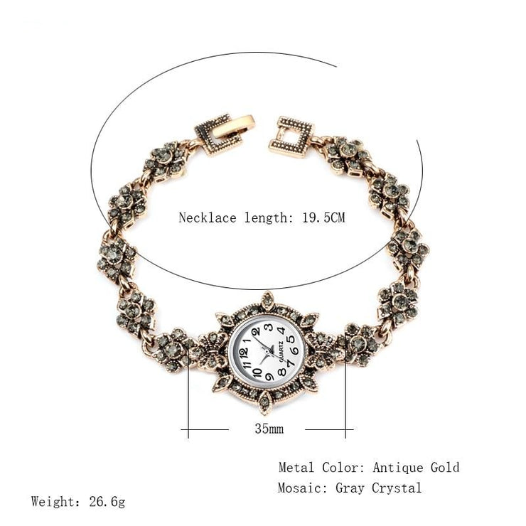 Women's Unique Antique Charm Bracelet Watch - Vintage Bohemian Design Watch with Gold Tone Finish and Grey Rhinestones