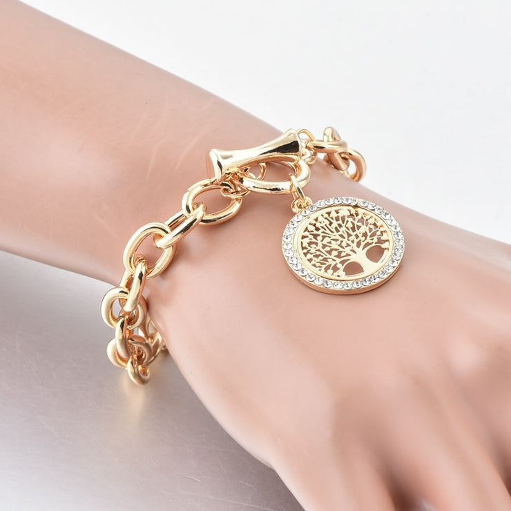 Tree of Life Coin Pendant Bracelet - Thick, Gold or Silver Plated Chain, Gold or Silver Plated Coin with Rhinestone Crystals, Toggle Clasp