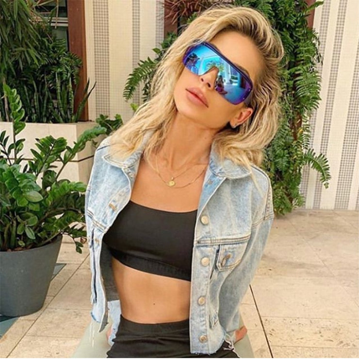 Cyber - Women's Large Curvy Futuristic Shield Visor Sunglasses - Cyber Punk Style with Round Flat Top and Oversized Mirror Gradient Lens
