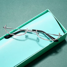 Load image into Gallery viewer, Luna - No Lens Half-Moon Frame Vintage Fashion Eyeglasses with Rhinestones