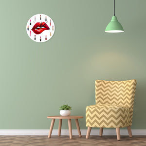 Lip Service - Red Lipstick Makeup Art Wall Clock