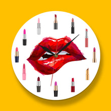 Load image into Gallery viewer, Lip Service - Red Lipstick Makeup Art Wall Clock