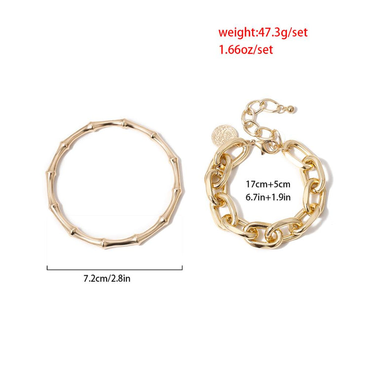 Ladies 2-Piece Stackable, Bold Boho Fashion Bracelet, Bamboo Shaped Bangle and Coin Pendant Chain Set