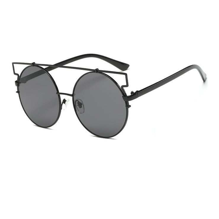Feline Intelligence - Women's Oversized Round Sunglasses, with Crossbar