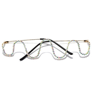 Ripple Effect - No Lens Frame, Metal Wave Fashion Eyeglasses with Rhinestones