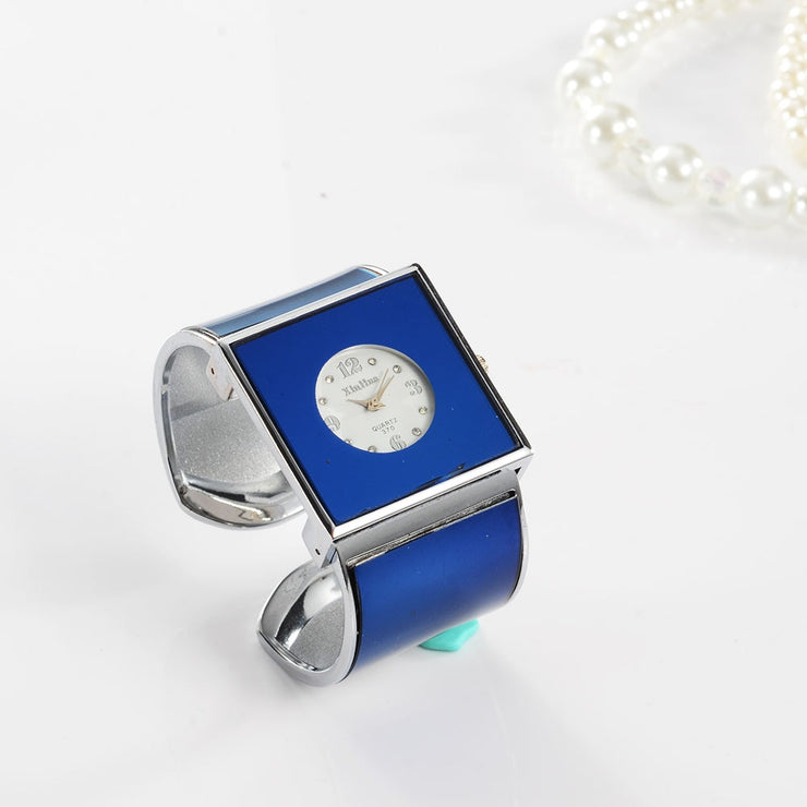 Women's Large Minimal Bracelet Watch - Vintage Design with Square Minimal Dial Face with Classic Numerals, Stainless Steel Band