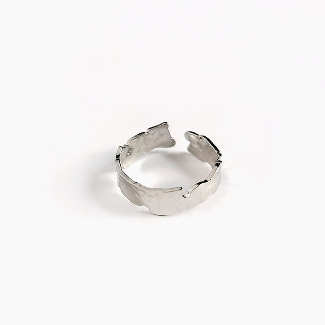 Ladies Geometric Minimal Textured Ring   - Open, Adjustable, Wide or Thin Fashion Ring