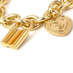 Lock Heart Coin Pendant Bracelet - Vintage, Thick, Gold or Silver Plated Chain with Hanging Gold or Silver Plated Padlock and Heart Coin Pendants