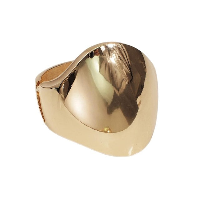 The Big Bangle - Oversized Cuff Fashion Bracelet, Wrist Shield Bracer, Large Gold Tone or Silver Tone Statement Jewelry