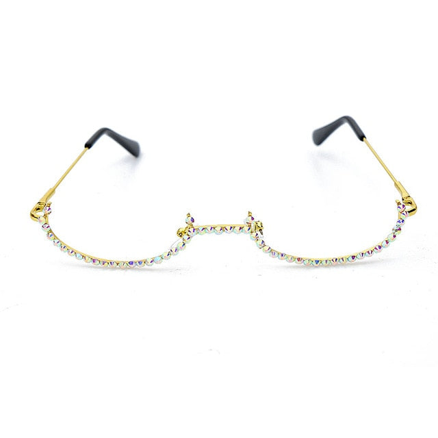 Luna - No Lens Half-Moon Frame Vintage Fashion Eyeglasses with Rhinestones