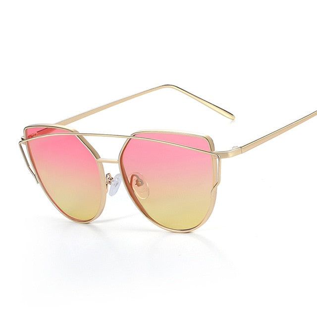 Panthera - Women's Oversized Aviator Cat Eye Sunglasses, Mirror Lens & Crossbar