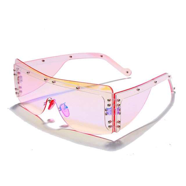 Cyber Celebrity - Women's Large Rimless Shield Visor Sunglasses - Luxury Style Square Frame Fashion Sunglasses with Clear Gradient Lens