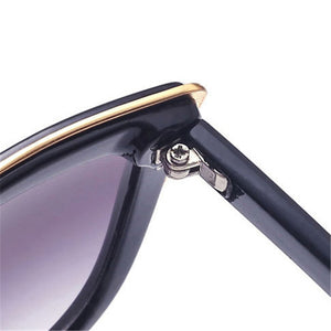 Feline Vision - Women's Oversized Cat Eye Sunglasses, Mirror with Metal Trim Frame
