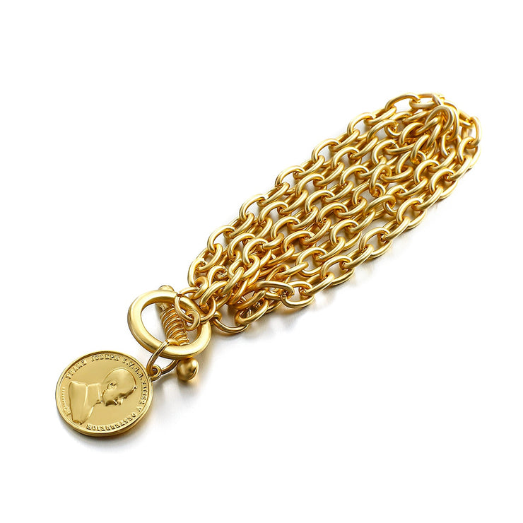 Lineage Coin Pendant Bracelet - Thick, Gold Plated Chain, Gold Plated Coin with Toggle Clasp