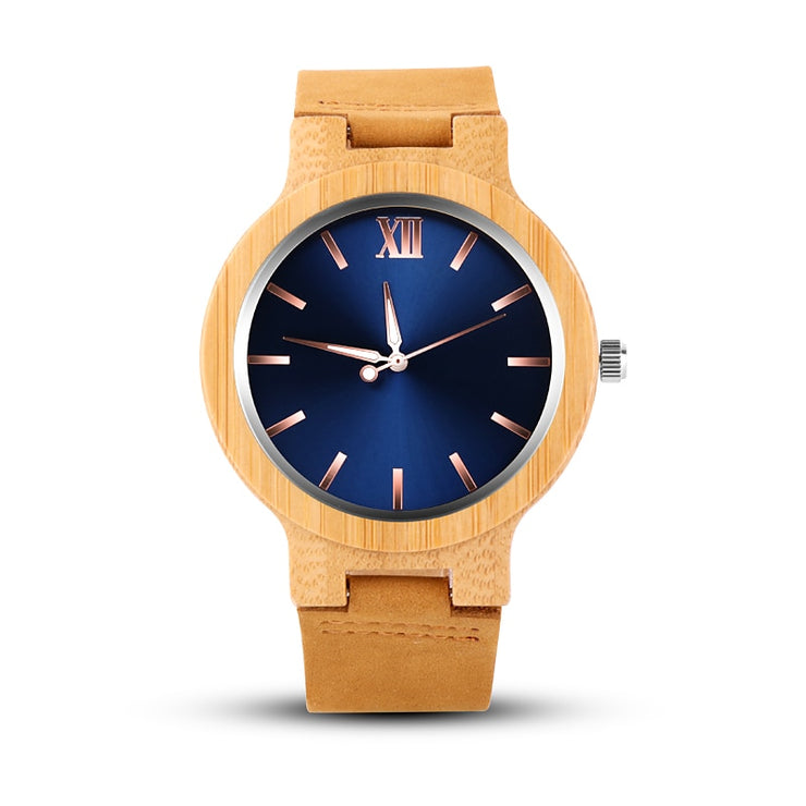 Men's Round Bamboo Wood Quartz Watch - Wooden Bezel Watch With Dark Blue, Gold, or Light Green Dial and Classic Roman Numerals