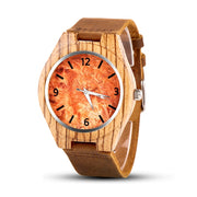 Men's Round Bamboo Wood Quartz Watch - Stripe Patterned Wooden Bezel Watch With Misty Orange and Minimal Numbered Dial