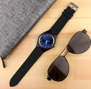 Men's Round Bamboo Wood Quartz Watch - Dark Wooden Bezel Watch With Dark Blue or Black, Classic Numbered Dial