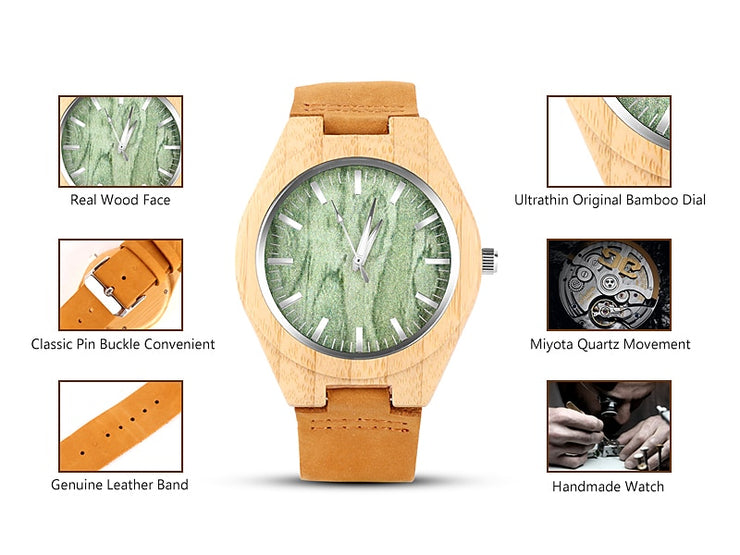 Men's Round Bamboo Wood Quartz Watch - Wooden Bezel Watch With Black or Green Dial and Classic Roman Numerals