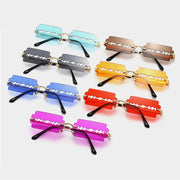 Aperture - Women's Unique Small Frame Rimless Punk Fashion Sunglasses, Clear Gradient Neon Coloured Lens with Middle Slit Opening