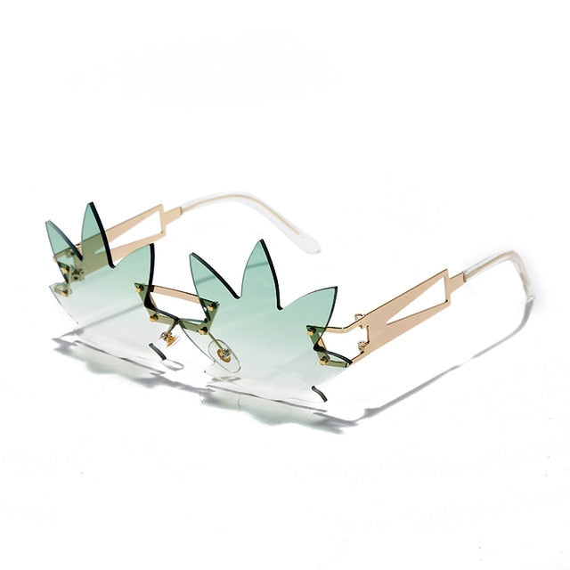 High Leaf - Women's Unique Medium Frame Rimless Maple Leaf -Shaped Fashion Sunglasses, Clear Gradient Neon Coloured Lens