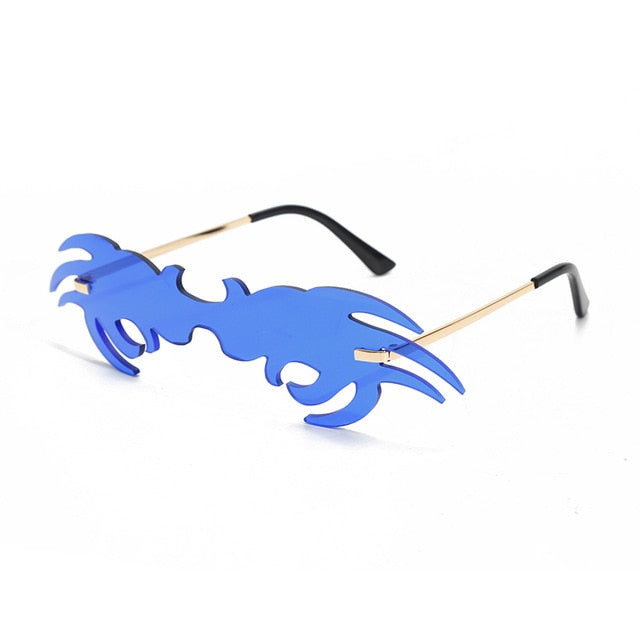 King Crab - Unique Medium Frame Rimless Crab Claw-Shaped Fashion Sunglasses, Clear Gradient Neon Coloured Lens