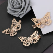 Golden Butterfly Hair Clips - Vintage Nature Inspired Metal Hair Pin Barrettes For Girls and Women
