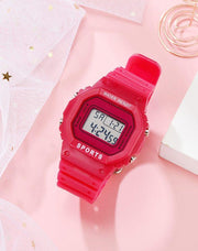 Waterproof Silicone Jelly Digital Sport Watch  - Electronic Retro Design Watch with a Big Dial Face and Luminous Backlight