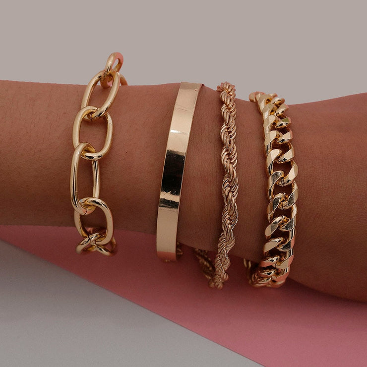 Ladies 4-Piece Stackable, Thick Multi-Layer Boho Fashion Bracelet Set with Punk Chains, Cuban Links, and Bangle