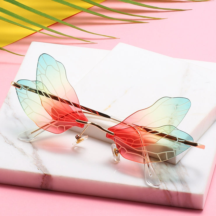 Dragonfly - Women's Unique Medium Frame Wing-Shaped Rimless Sunglasses, Clear Gradient Lens with Veins