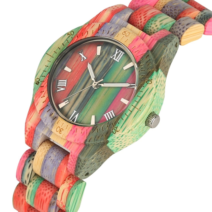 Women's Round Rainbow Pastel Bamboo Wood Quartz Watch - Multi-colour Wooden Bezel Watch with Classic Roman Numerals or Minimal Dial