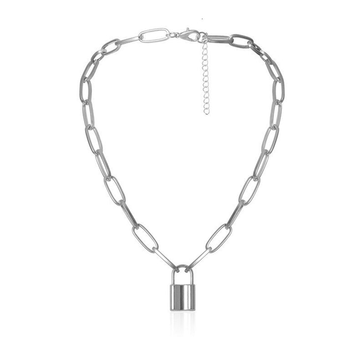 Unisex Classic Punk Chain Necklace with Padlock Pendant - Long Adjustable Chain Statement Necklace