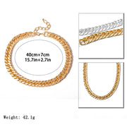 Ladies Classic Thick Cuban Link Chain Adjustable Necklace - Vintage Minimal Gold or Silver Short Choker