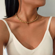 Ladies Twisted Rope Chain Collar Necklace - Adjustable Thick Chunky Choker Necklace