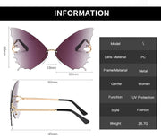 Papillon - Women's Unique Large Frame Rimless Butterfly Wing-Shaped Fashion Sunglasses, Clear Gradient Warm Coloured Lens