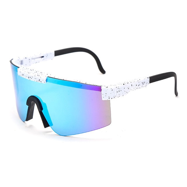 Cyber Future - Women's Large Reflective Shield Visor Sunglasses - Luxury Flat Top Goggle Style Sunglasses with Oversized Mirror Gradient Lens