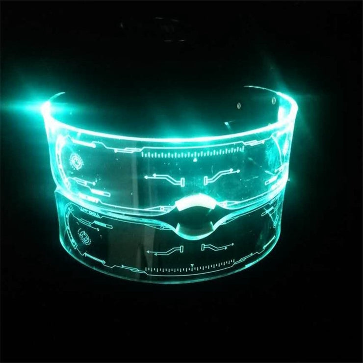 Cyber Lights- Large Shield Visor Sunglasses with LED Lights, Luminous Cyber Punk Style Fashion Goggles with Imitation Hologram Display in Lens