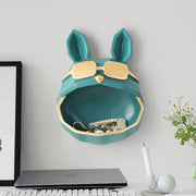 Big Mouth French Bulldog with Gold Sunglasses Resin Statue Wall Mounted Storage Container - Indoor Home Decoration Cartoon Frenchie Head Sculpture
