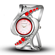 Women's Futuristic Helix Bracelet Watch - Sophisticated Design with Round Minimal Dial Face, Stainless Steel Band with Rhinestones and No Clasp