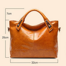 Load image into Gallery viewer, Women's Oil Wax PU Leather Handbag - With Shoulder Strap