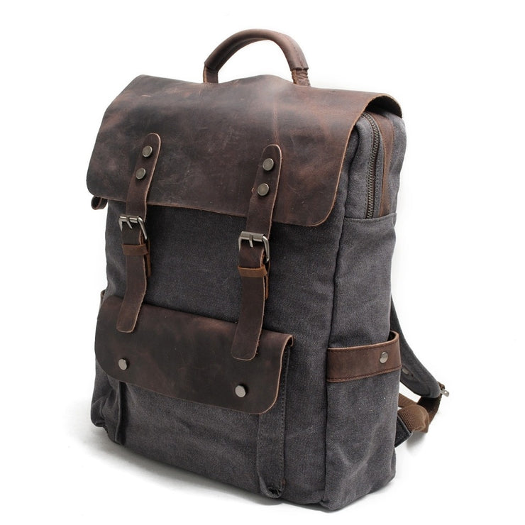 Men's Genuine Leather Canvas Backpack - Large Capacity Multifunctional Travel Bag