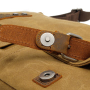 Men's Genuine Leather Vintage Canvas Bag - Messenger Travel Briefcase with Strap
