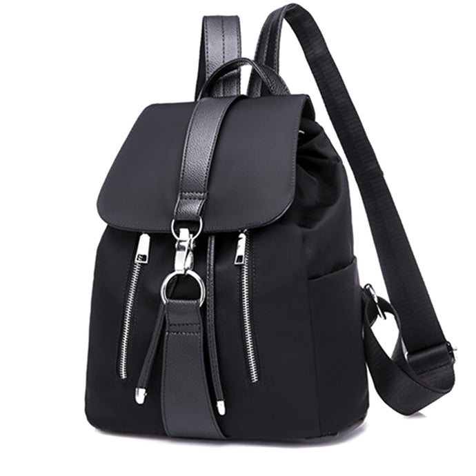 Women's Nylon Zipper Backpack - PU Leather Trim Back to School Bag