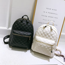 Load image into Gallery viewer, Women's PU Leather Diamond Lattice Backpack - Vogue Fashion Mini Bag