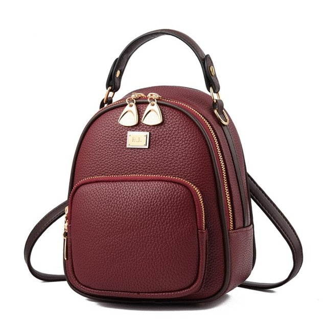 Women's PU Leather Mini Backpack - Small Capacity Casual Urban Bag