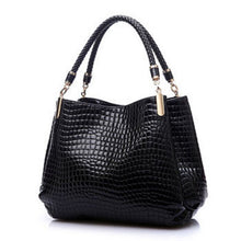 Load image into Gallery viewer, Women's PU Leather Crocodile Skin Handbag - With Zipper Compartment