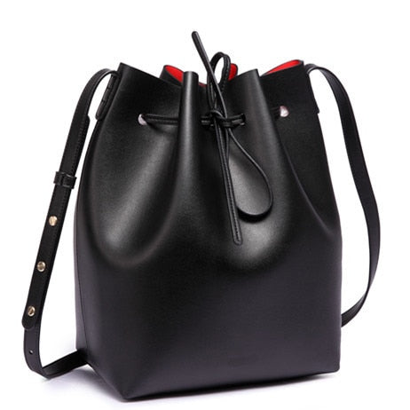 Women's Genuine Leather Bucket Bag - With Shoulder Strap