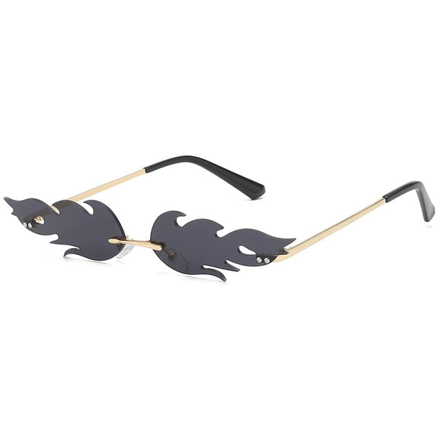 Burnside - Trendy Small Frame, Fire Flame Sunglasses with Mirror Lens