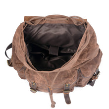 Load image into Gallery viewer, Men's Genuine Leather Canvas Backpack - Large Capacity Waterproof Rucksack